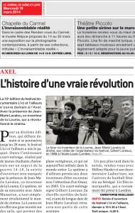 Journal de Saône et Loire du 19 Mars 2014