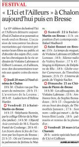 Journal de Saône et Loire du 20 Mars 2014