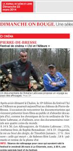 Journal de Saône et Loire du 23 Mars 2014